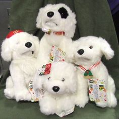 DISNEY STORE SANTA PAWS 2 SANTA PUPS PLUSH SET NEW! Stuffed Animals Dogs- these are my friends puppies