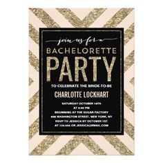 Glamorous Shimmer   Bachelorette Party Invitation