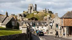 Corfe Castle, Dorset with the village in the foreground