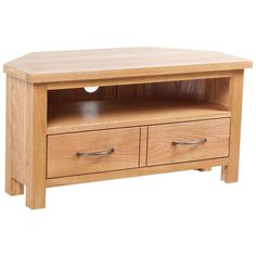 2 Drawer TV Stand Cabinet Shelf Brown Colour Wooden Oak Living Room Furniture