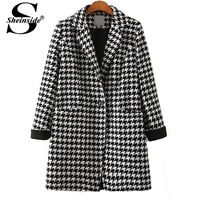 Sheinside 2014 Autumn/Winter Clothes Casual Outerwear Desigual Designer Women Fashion Black White Long Sleeve Houndstooth Coat