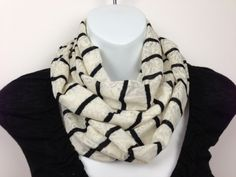 Cream Lace with black knit pinstripes Infinity Scarf. $16.00, via Etsy.