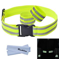 Techion Reflective Elastic Fabric Waist Belt Band with Buckle Clip and Two Reflective Strips for Cycling  Biking  Walking  Jogging  Running Gear and Outdoor Sports Waistband >>> Want additional info? Click on the image.