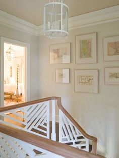 Phoebe Howard - chippendale fretwork staircase, white lantern, upstairs landing