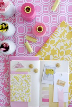 Pink and yellow.  Like Geometric pink background - possible playroom colors