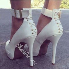 Shoespie - Shoespie New Arrival White Coppy Ankle Strap Platform High Heel Shoes - AdoreWe.com