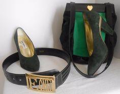 ESCADA Vintage Shoes Pumps Heel Suede Leather Hunter Green MetallicGold  37 7 B #ESCADA #Heels