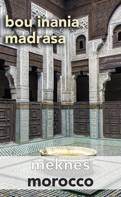 A beautiful building in the middle of the medina of Meknes. The Bou Inania Madrasa is a great site to visit when you're in this city in Morocco.