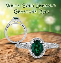Elegant and bold, emerald engagement rings are a rich choice with their gorgeous deep-green hue.   #emerald #rings #jewelry #ring #fashion #gold Emerald Rings, Sapphire Rings, Emerald Jewelry, Emerald Gemstone, Gold Jewelry, Gemstone Rings, Rings Online, Colored Diamonds, White Gold