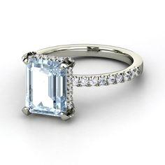 Emerald Aquamarine 14K White Gold Ring with White Sapphire & Diamond   Reese Ring   Gemvara