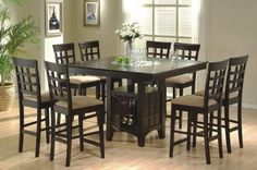 Amazon.com: 9pc Counter Height Storage Dining Table w/Lazy Susan & Chair Set: Home & Kitchen