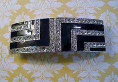 Vintage Accessocraft NYC Duette Belt Buckle Art Deco Style Black Enamel…