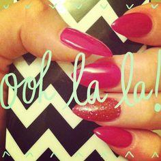 Pink stiletto nails. Stiletto rocks!! Nail art.