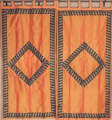 "Orange Paisley Zari Embroidery Curtains - 2 Dupioni Shimmering Window Panels 82"""