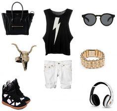 (Céline 'Boston' bag, Ahhh Isabel Marant sneakers how i want you so, Wildfox Couture T-shirt, Mixology NYC ring, CC Skye 'Pave bullet holder hinger' bracelet, Illesteva 'Leonard 2′ sunglasses, Levis white jean, Beats Audio)