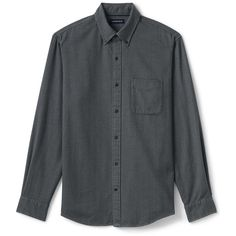 Lands' End Big and Tall Men's Solid  Flannel Jaspe Shirt - Traditional... (3.875 RUB) ❤ liked on Polyvore featuring men's fashion, men's clothing, men's shirts, men's casual shirts, grey, big tall mens shirts, mens heavy flannel shirts, mens french cuff shirts, mens long sleeve shirts and mens longsleeve shirts