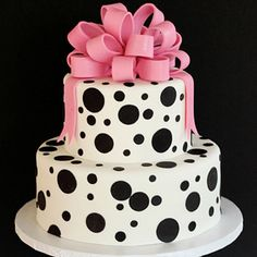 Cocoa & Fig Black Polka Dot and Pink Bow Cake www.cocoaandfig.com