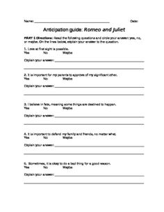 Romeo  Juliet Quiz One  Romeo And Juliet  Essay Questions Romeo  Romeo And Juliet Anticipation Guide
