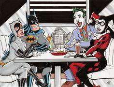 Batman Catwoman Joker Harley Quinn Double Date by Cal Layton