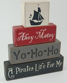 Ahoy MateyYo Ho HoA Pirates Life For Me  Primitive Country Wood Stacking Sign Blocks Pirate Theme Kids Boys Pirate Birthday Pirate Nursery Room Home Decor ** Continue to the product at the image link. (Note:Amazon affiliate link)