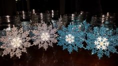 Indoor Decor - Baby it's cold outside shower - Mason Jar Snowflakes Baby Shower Menu, Boy Baby Shower Themes, Baby Shower Decorations, Baby Boy Shower, Snowflake Party, Snowflake Baby Shower, Baby Shower Winter, Baby Winter, Outside Baby Showers