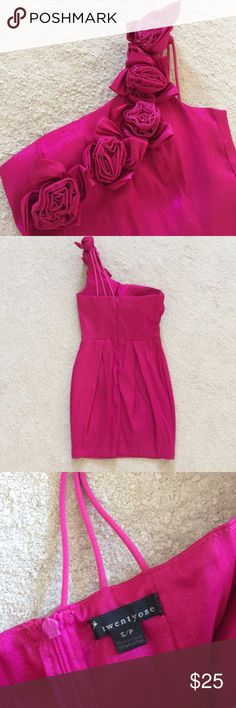"""Rosette One Shoulder Dress ~ My entire Closet is buy one get one half off! ~  Make a statement in this fuschia one shoulder dress with fabric rosettes and strappy details. Tulip style skirt and zipper up back. Size is marked Small but this will also fit size XS. I'm 5'3"""" and it hits 3"""" above my knees.   The fabric is satin-y and it looks more expensive than it really is! Amazing condition! Worn once to a bachelorette party (see photos).   Suitable for formals, homecoming, bridal showers…"""