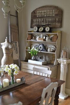 FULL ROOM MAKEOVERS are featured on SNS 3 themed link party - via Funky Junk Interiors (featuring Faded Charm's gorgeous dining room). Love this farmhouse dining look. Estilo Country, Country Chic, Country Decor, Farmhouse Decor, Country Interior, French Farmhouse, French Country, Kitchen Dining, Kitchen Decor