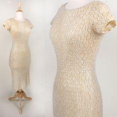 1960s Sequin Knit Bombshell Dress White by VINTAGELOVEbyGIGI, $265.00