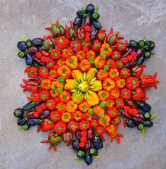 "danmala 2   - 8""x8"" - 14""x14"" - 30""x30"" - beloved gardens peppers - I WANT TO EAT THIS MANDALA. danmala.com is an amazing place to find mandalas made from nature. :D So happy to have found it. Thanks, Grow Alabama!"