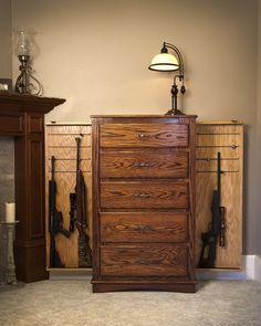 Chest of drawers with hidden gun racks