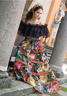 Lucero. Mexican Costume, Mexican Outfit, Traditional Mexican Dress, Traditional Outfits, 15 Dresses, Fashion Dresses, Mexican Style Dresses, Mexican Quinceanera Dresses, Mexico Dress