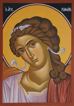 Archangel Raphael St Raphael, Archangel Raphael, Orthodox Catholic, Catholic Art, Byzantine Icons, Byzantine Art, Religious Icons, Religious Art, Order Of Angels
