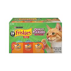 Purina Friskies Gravy Pleasers Variety Pack Cat Food - (24) 8.25 lb. Box - Bring the mouthwatering goodness of gravy to your cat's dish with this Purina Friskies Gravy Pleasers wet cat food variety pack. Three different recipes satisfy your cat's cravings, all of them made with savory gravy, and the real chicken in every serving lets you feel confident she's getting the...
