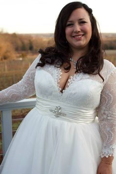 Plus Size Chantilly Lace and Tulle Ballgown with Long Sleeves by WeddingDressFantasy on Etsy https://www.etsy.com/listing/223761059/plus-size-chantilly-lace-and-tulle