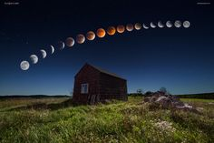 Super Blood Moon Eclipse Sequence - This image is a multiple exposure blend captured as the moon eclipsed over this dilapidated shack in central Maine, USA - photographed Sept 27 2015, 8PM-2AM.  EXIF: Foreground & Sky: Nikon D600 & 14-24mm @ 14mm f/2.8 - 13 secs - ISO 1600 Moon Sequence: Nikon D7000 & 70-300mm @ 300mm (450mm equivalent) f/11 - multiple secs - ISO 200-3200 (changed as the moon changed)  © Mike Taylor | Taylor Photography  <a…