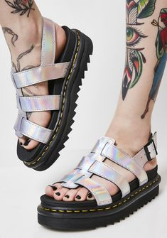078fb1a941d7 Dr. Martens Lazer Yelena Metallic Sandals cuz a baddie like you always has   em