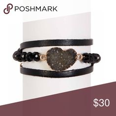 SAACHI Leather Bracelet with Faux Druzy & Beads Black leather wrap bracelet with crystal beads, a faux druzy stone and gold accents. Genuine Leather. Grey/black Druzy stone. Has magnetic closure. ~22 inches long. Brand new, will package in box. Smoke/pet free home. Have a bronze version listed separately. Saachi Jewelry Bracelets