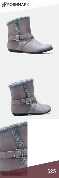 Davette Booties Flat gray booties with shearling detail to keep your feet cozy. Stylish replacement for your slippers. Never worn! JustFab Shoes Ankle Boots & Booties