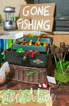 Gone Fishing Birthday Party Ideas! Gone Fishing Party, Photos Booth, Rosalie, Festa Party, Party Party, 50th Birthday Party, Birthday Ideas, Party Ideas, Fishing Tips