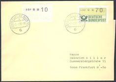"""Germany, ATM 02.02.1989, Bund, Automatenmarken, 10 Pfg. """"Aufdruck auf der Gummiseite"""", neben 70 Pfg. auf Ortsbrief von Frankfurt, Postamt 504 (Zeil) vor der Umstellung. Price Estimate (8/2016): 15 EUR."""