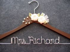 Bridal Hanger - Personalized Wedding Dress Hanger - Walnut Finish with Flowers and Pearls - Etsy