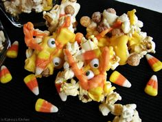 Monster Mash Popcorn Mix from Katrina's Kitchen.  Different version that uses eyeball candy that would be fun for Halloween.  Also uses Reese's Puffs cereal.  White chocolate, orange chocolate, yellow chocolate.  Popped popcorn.  Candy corn.