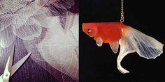 ガラス細工じゃないだと…?プラバンで作った「金魚のアクセサリー」が美しすぎる! http://ift.tt/1gksAs5
