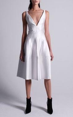 Deep V Neck Dress With Godet Skirt by J. Mendel   Moda Operandi