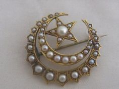 Victorian 18th C Gold Seed Pearl Crescent Moon Brooch