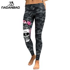 06ef9e39187 NADANBAO New Arrival Leggings Women Skull Head 3D Printed Camouflage Legging  Workout Leggins Slim Elastic Plus