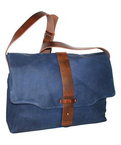 Look at this #zulilyfind! Denim Saddle Leather Messenger Bag by Nino Bossi Handbags #zulilyfinds