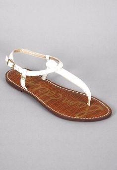 Sam Edelman Gigi T Strap White Sandal Flat 7.5 Leather Thong Ankle Strap #SamEdelman #TStrap #Any