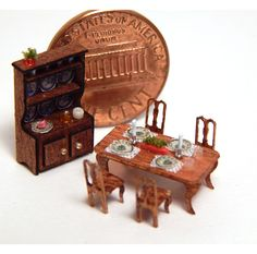 Micro Miniature 1 144 Set of 6 Dining Table Chair Hutch Settng Handcrafted Tiny | eBay