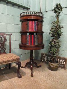 Antique French Mahogany Revolving Bookcase c1920